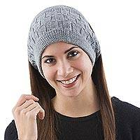100% alpaca ear warmer, 'Cubic Grey' - Grey Earwamers Knitted 100% Alpaca Wool Winter Accessory