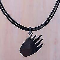 Sterling silver pendant necklace, 'Shadow Hand' - Oxidized Sterling Silver Necklace with Black Leather Cords