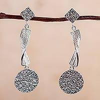 Sterling silver dangle earrings, 'Textural Dance' - Modern Andean Textured Sterling Silver Dangle Earrings