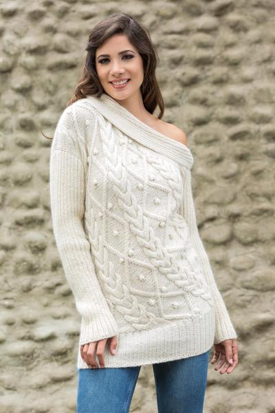 100% alpaca sweater, 'Diamond Dreams' - Hand Knitted Off the Shoulder Alpaca Sweater from Peru