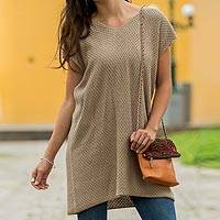 Cotton knit tunic, 'Desert Nomad' - Beige Cotton Tunic V-Neck and Cap Sleeves from Peru