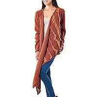 100% alpaca wrap cardigan, 'Playful Chic' - 100% Alpaca Hand Knit Rust Color Wrap Cardigan from Peru