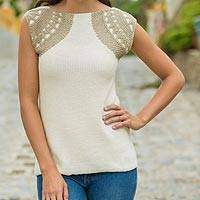 Cotton tunic, 'Classic New' - Beige on Ivory 100% Cotton Top Blouse Knitted by Hand