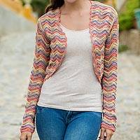 Cotton cardigan, 'Pastel Trends' - 100% Cotton Cardigan in Pastel Colors Knitted by Hand