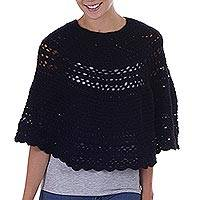 100% alpaca poncho, 'Magical Black Detail' - Alpaca Hand Knitted Black Poncho with Multiple Patterns