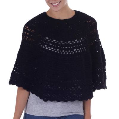 Alpaca Hand Knitted Black Poncho with Multiple Patterns