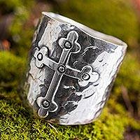 Featured review for Sterling silver band ring, Rising Cross