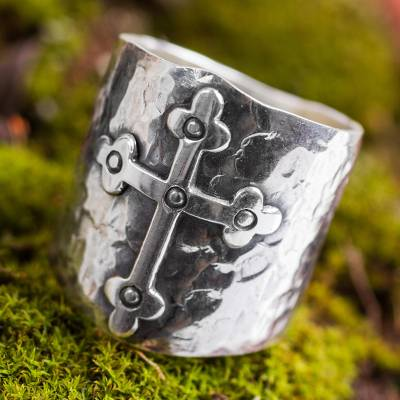 Sterling silver band ring, 'Rising Cross' - Handcrafted Andean Sterling Silver Cross Ring