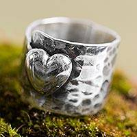 Sterling silver cocktail ring, 'Heartfelt Hug' - Heart Theme Handcrafted Andean Sterling Silver Ring