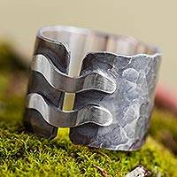Sterling silver band ring, 'Chicama Surf' - Artisan Crafted Fair Trade Andean Sterling Silver Ring