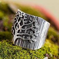 Sterling silver band ring, 'Tree in Spring' - Handcrafted Sterling Silver Tree Theme Wide Band Ring
