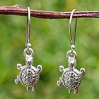 Sterling silver dangle earrings, 'Long Live Turtles' - Sterling Silver Turtle Earrings Crafted by Hand