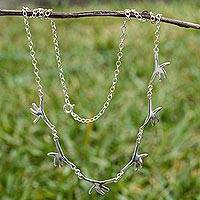 Sterling silver pendant necklace, 'Helping Hands' - Chain Necklace of Helping Hands in 925 Sterling Silver