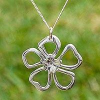 Sterling silver flower necklace, 'Gardenia Star' - Star Flower Pendant on Sterling Silver Necklace