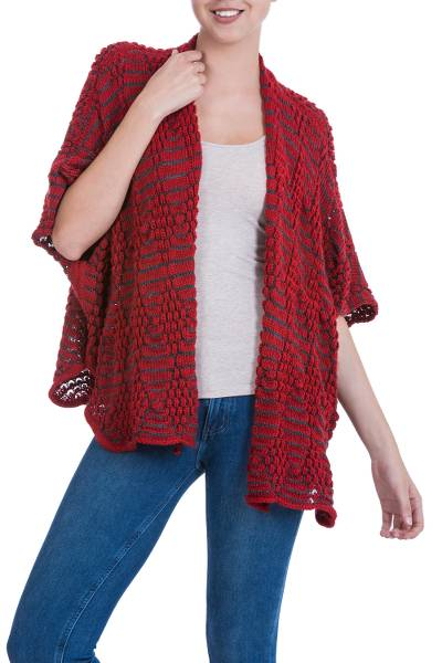 Alpaca blend cape, 'Regina' - Red Diamonds on Grey Alpaca Blend Knitted Cape from Peru
