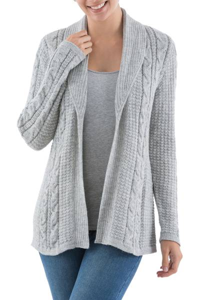 Versatile Light Grey Cardigan in Soft Alpaca Blend from Peru ...