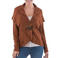 Alpaca blend cardigan, 'Spice Style' - Styled Alpaca Blend Cardigan in Spice with Bull Horn Pin