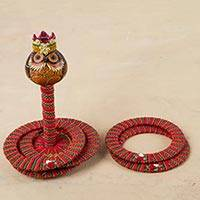 Dried gourd desktop ring toss set, 'King Owl' - King Owl Dried Gourd on Desktop Ring Toss Set from Peru