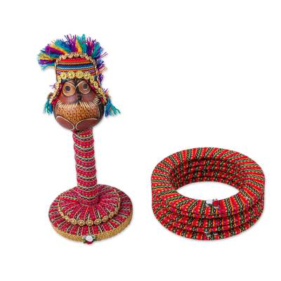 Dried gourd stacking desktop ring toss set, 'Inca Emperor Owl' - Handmade Inca Chief Owl Dried Gourd on Desktop Ring Toss Set