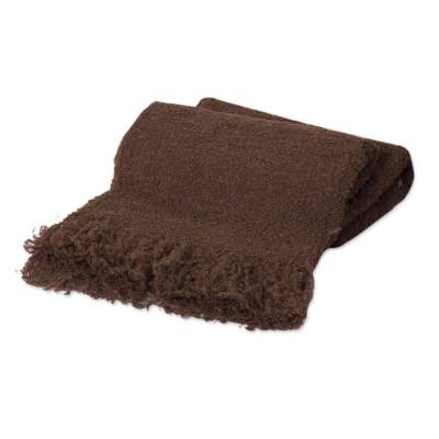 Handwoven Brown Boucle Alpaca Blend Throw with Fringe
