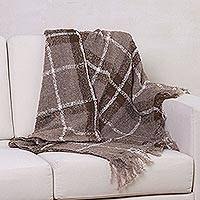 Alpaca blend throw, 'Mocha Plaid Boucle' - Soft Handwoven Alpaca Blend Boucle Throw in Brown Plaid with