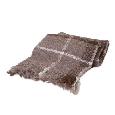 Alpaca blend throw, 'Mocha Plaid Boucle' - Soft Handwoven Alpaca Blend Boucle Throw in Brown Plaid with