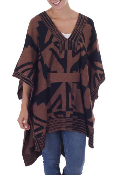 100% alpaca poncho, 'Piura Geometry' - Fair Trade 100% Alpaca Contemporary Belted Peruvian Poncho w