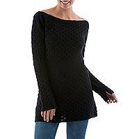 100% alpaca tunic, 'Azabache' - Black 100% Alpaca Tunic Long Sleeve Sweater from Peru
