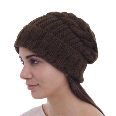 Alpaca blend hat, 'Espresso Braid' - Hand Knitted Dark Brown Unisex Alpaca Blend Hat
