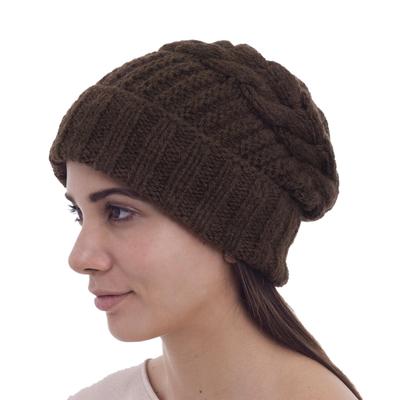 Alpaca blend hat, 'Espresso Braid' - Andean Fair Trade Hand Knit Alpaca Blend Unisex Watchmans St
