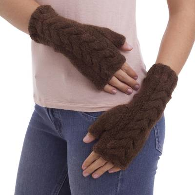 Alpaca blend fingerless mitts, 'Chocolate Braid' - Andean Fair Trade Hand Knit Medium Length Fingerless Gloves