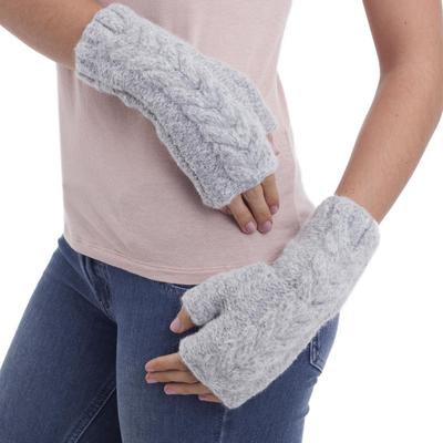 Alpaca blend fingerless mitts, 'Cloud Grey Braid' - Light Grey Andean Alpaca Blend Hand Knitted Fingerless Glove