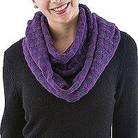 Alpaca blend infinity scarf, 'Parallel Purple' - Alpaca Blend Purple and Orchid Infinity Scarf from Peru