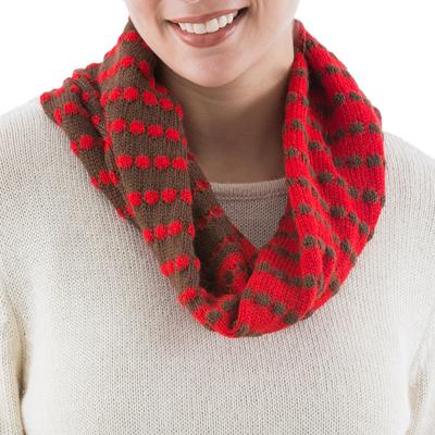 Alpaca blend infinity scarf, 'Chocolate Cherry' - Knit Alpaca Blend Infinity Scarf in Red and Brown