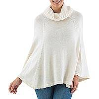 Alpaca blend turtleneck poncho, 'Chachapoyas Cloud' - Fair Trade Peruvian Alpaca Blend Off White Turtleneck Poncho