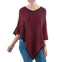 Alpaca blend poncho, 'Bold and Bright' - Red and Black Striped Andean Alpaca Blend Poncho