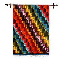 Wool tapestry, 'Eyes on the Stairs' - Multicolor Handwoven Geometric Wool Tapestry from Peru
