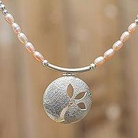 Cultured pearl flower pendant necklace, 'Delicate Petals' - Womens Silver and Pearl Pendant Flower Necklace from Peru