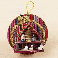 Ceramic ornaments, 'Happy Nativity' - Handmade Fabric Wall Adornment with Ceramic Nativity Scene