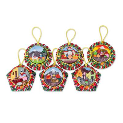 Ceramic ornaments, 'Life in the Andes' - 6 Hand Painted Andean Scenes on Ceramic Ornaments Set
