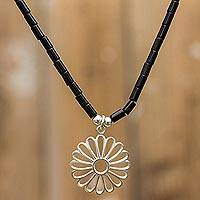 Onyx necklace, 'Dramatic Daisy' - Women's 925 Silver and Onyx Pendant Daisy Necklace from Peru
