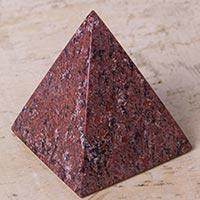 Rhodochrosite pyramid, 'Love Equilibrium' - Peruvian Rhodochrosite Pyramid Gemstone Sculpture