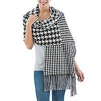 Reversible alpaca blend shawl, 'Classic Houndstooth' - Black and White Houndstooth Alpaca Blend Reversible Shawl