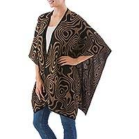 Reversible alpaca blend ruana cape, 'Midnight Rivers' - Brown and Black Alpaca Blend Ruana from Peru
