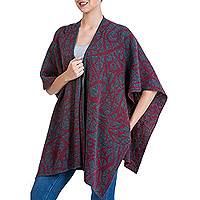 Reversible alpaca blend ruana cape, 'Crimson Abstract'