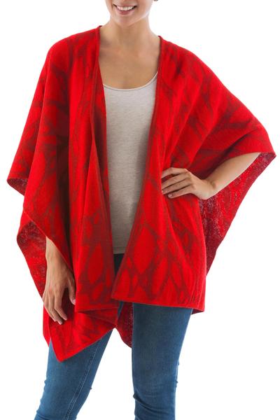 Reversible Red Alpaca Blend Andean Ruana Cloak