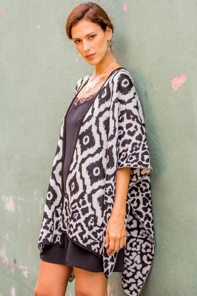 Reversible alpaca blend ruana cape, 'Black and White Tile' - Fair Trade Alpaca Blend Andean Reversible Ruana Cape with Bl