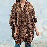 Reversible alpaca blend ruana cape, 'Terracotta Tile'