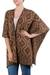 Reversible alpaca blend ruana cape, 'Terracotta Tile' - Reversible Alpaca Blend Peruvian Ruana Cape in Brown (image 2a) thumbail