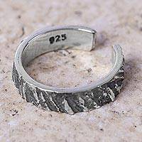 Sterling silver band ring, 'Huascaran' - Adjustable Weathered Finish Silver Middle Finger Ring